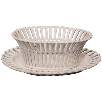 French Creil et Montereau Creamware Chestnut Basket with Underplate