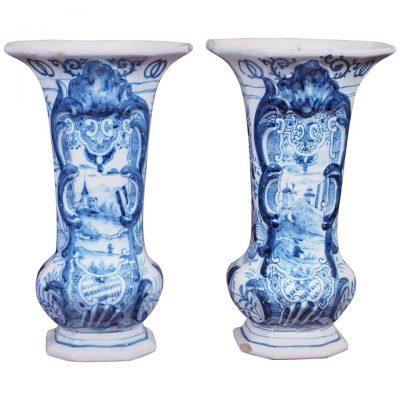 Pair of 19th Century Delft Trumpet Form Vases
