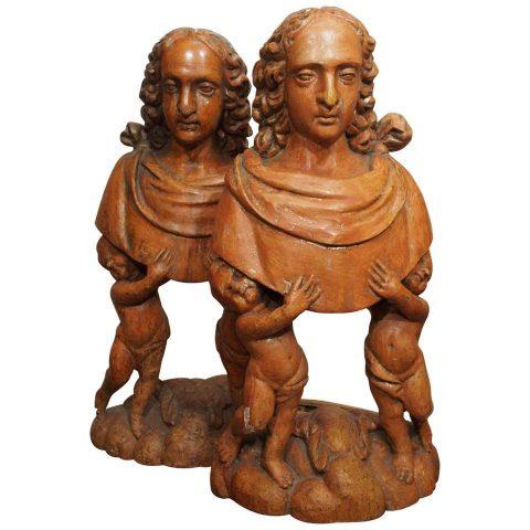 Pair of Carved Wood Italian Figural Reliquaries