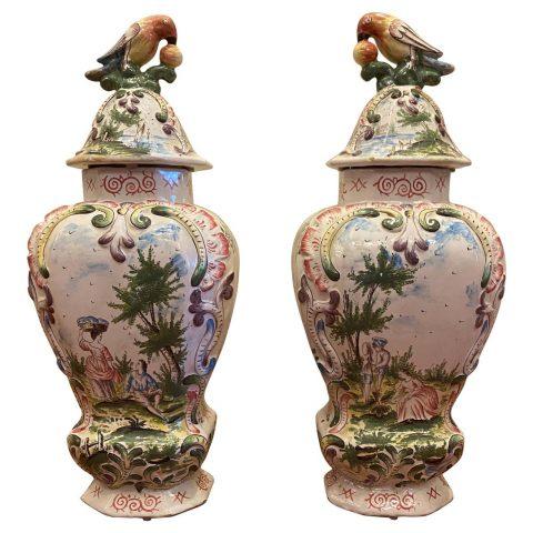 Pair of VP lidded jars
