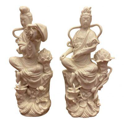 Pair of Blanc de Chine Figures