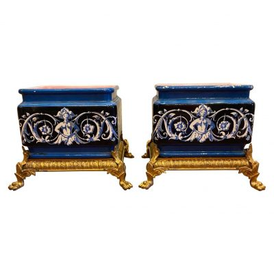 Pair of French Jardinière with Gilt Bronze Mounts